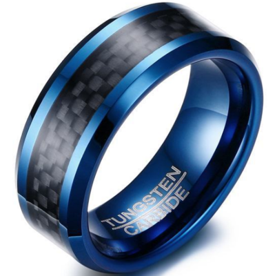 8mm Polished Finished Blue Tungsten Carbide Beveled Edge Ring With Black Carbon Fiber Inlay