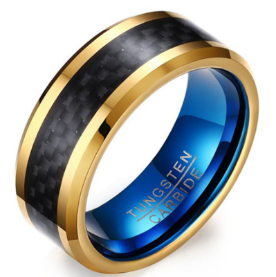 8mm Polished Finished Blue Tungsten Carbide Beveled Edge Ring With Gold And Black Carbon Fiber Inlay