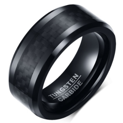 8mm Polished Finished Black Tungsten Carbide Beveled Edge Ring With Black Carbon Fiber Inlay