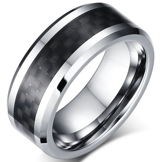 8mm Polished Finished Silver Tungsten Carbide Beveled Edge Ring With Black Carbon Fiber Inlay