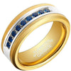8mm Polished Finished 18K Gold Tungsten Carbide Flat Edge Ring With Blue Exquisite Cubic Zirconia Inlay