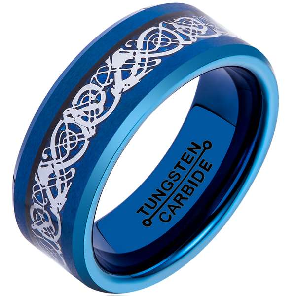 8mm Polished Finished Blue Tungsten Carbide Beveled Edge Ring With Blue Carbon Fiber Silver Celtic Dragon Inlay