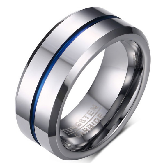 8mm Polished Finished Silver Tungsten Carbide Beveled Edge Ring With Blue Lining And Silver Matte Brushed