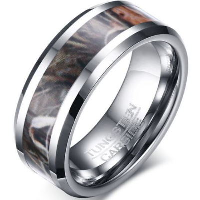 8mm Polished Finished Silver Tungsten Carbide Beveled Edge Ring With Brown Camo Inlay