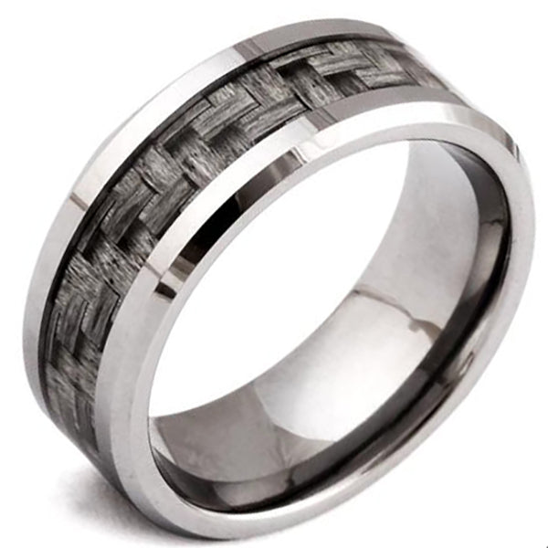 8mm Polished Finished Silver Tungsten Carbide Beveled Edge Ring With Grey Carbon Fiber Inlay