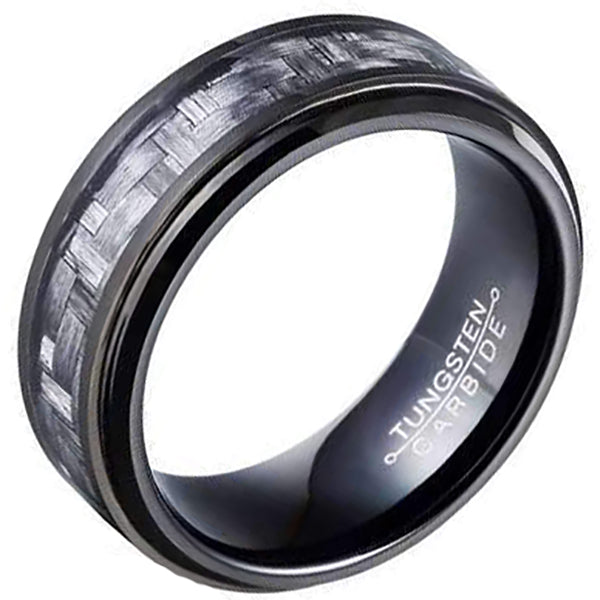 8mm Polished Finished Black Tungsten Carbide Step Down Edge Ring With Black And Grey Carbon Fiber Inlay