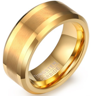 8mm Polished Finished Gold Tungsten Carbide Beveled Edge Ring With Matte Brushed Center