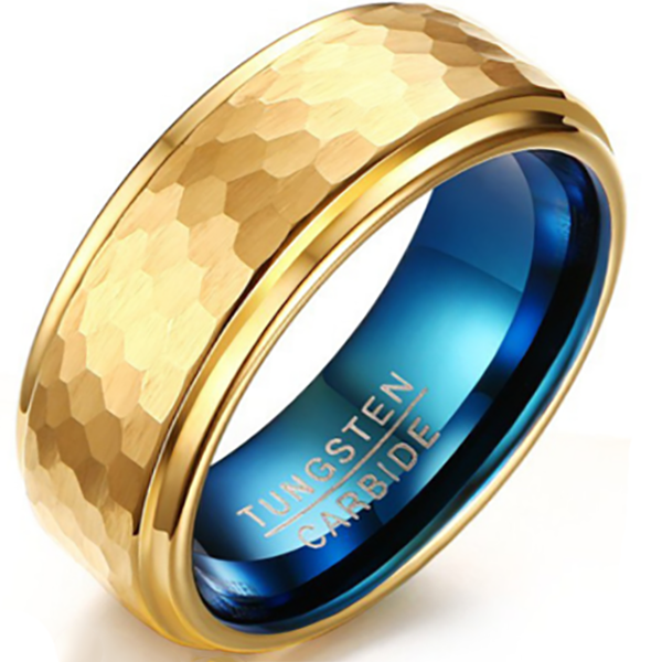 8mm Polished Finished Gold Tungsten Carbide Step Down Edge Ring With Gold Faceted And Blue Inner