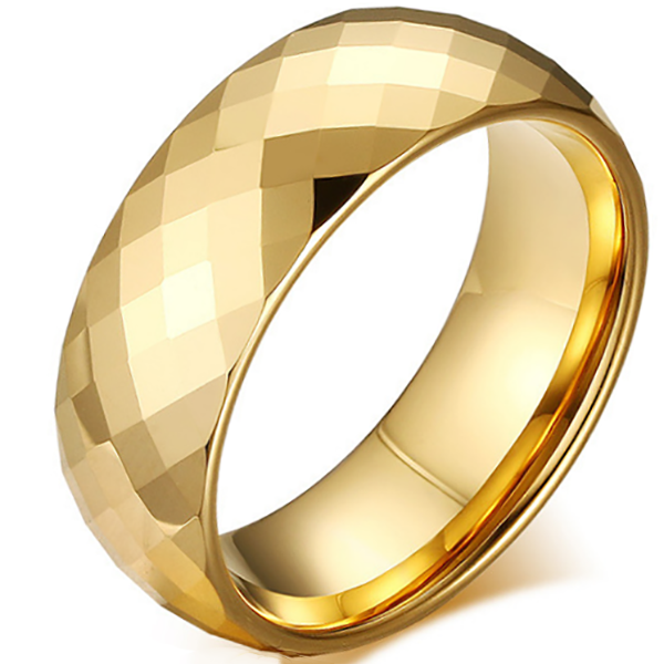8mm Polished Finished Gold Tungsten Carbide Flat Edge Ring With Gold Faceted