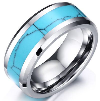 8mm Polished Finished Silver Tungsten Carbide Beveled Edge Ring With Turquoise Marble Inlay