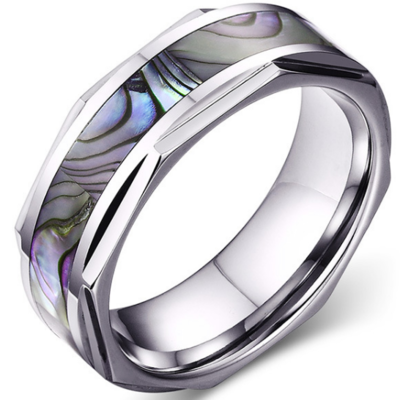 8mm Polished Finished Silver Tungsten Carbide Inner Step Edge With Abalone Shell Inlay