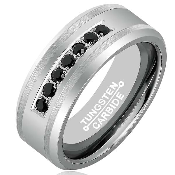 8mm Matte Finished Silver Tungsten Carbide Beveled Edge Ring With Black Exquisite Cubic Zirconia Inlay