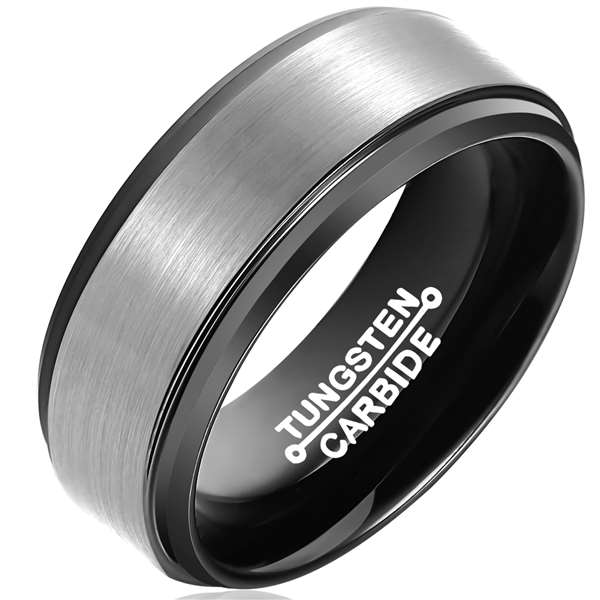 8mm Matte Finished Black Tungsten Carbide Beveled Edge Ring With Silver Matte Brushed Center