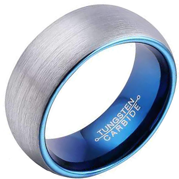 8mm Polished Finished Blue Tungsten Carbide Flat Edge Dome Ring With Silver Matte Brushed