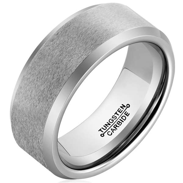 8mm Polished Finished Silver Tungsten Carbide Beveled Edge Ring With Silver Matte Brushed Center