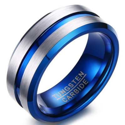 8mm Polished Finished Blue Tungsten Carbide Beveled Edge Ring With Double Silver Matte Brushed