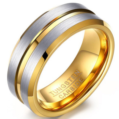 8mm Polished Finished Gold Tungsten Carbide Beveled Edge Ring With Double Silver Matte Brushed