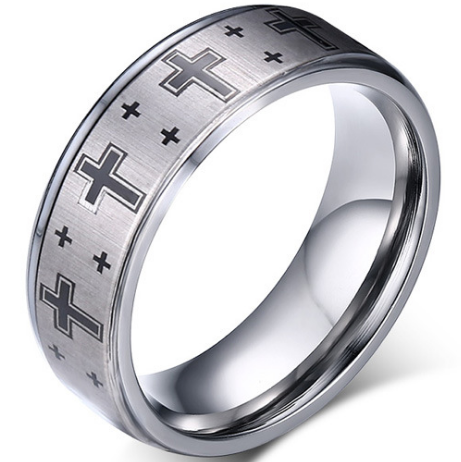 8mm Polished Finished Silver Tungsten Carbide Flat Edge Ring With Silver Cross Design