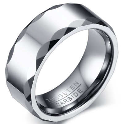 8mm Polished Finished Silver Tungsten Carbide Faceted Edge Ring