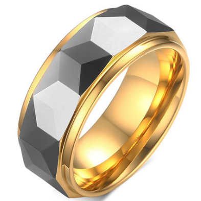 8mm Polished Finished Gold Tungsten Carbide Flat Edge Ring With Silver Faceted Center