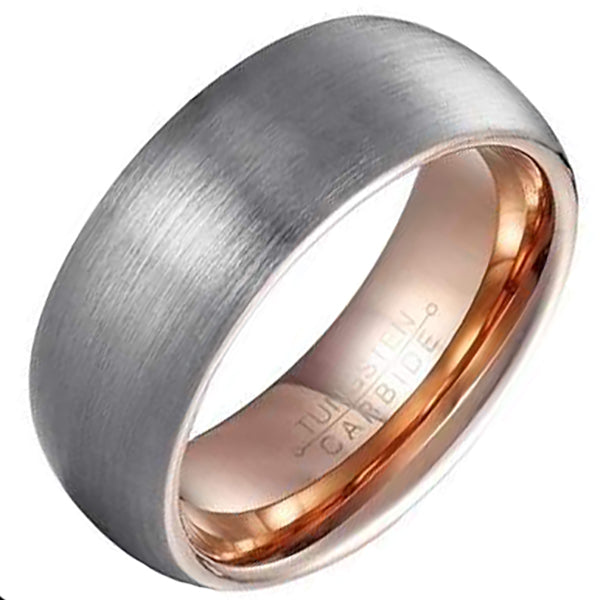 8mm Polished Finished Rose Gold Tungsten Carbide Flat Edge Dome Ring With Silver Matte Brushed