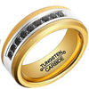 8mm Polished Finished 18K Gold Tungsten Carbide Flat Edge Ring With Black Exquisite Cubic Zirconia Inlay