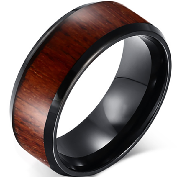 8mm Matte Finished Black Tungsten Carbide Flat Edge Ring With Wood Inlay