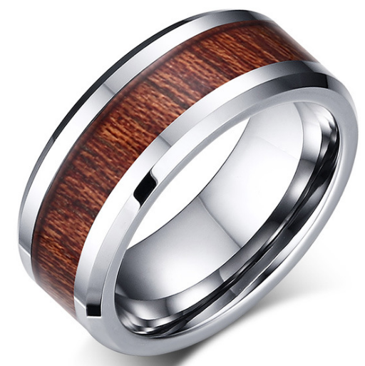 8mm Polished Finished Silver Tungsten Carbide Beveled Edge Ring With Wood Inlay