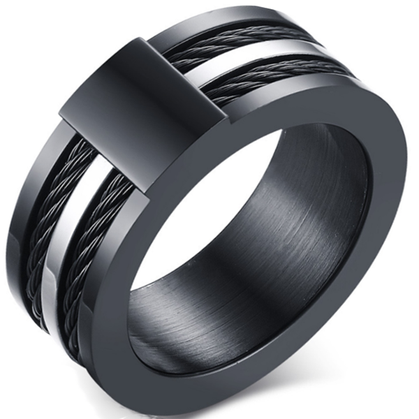 9mm Matte Finished Black Titanium Float Edge Ring With Double Black Rope and Silver Center
