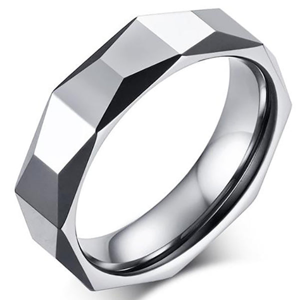 8mm Polished Finished Silver Tungsten Carbide Faceted Edge With Silver Faceted Design