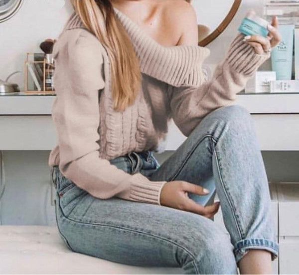 Halima - Cold Shoulder Puff Sleeve Sweater