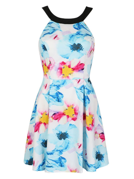 Bright Floral Print Backless Dress
