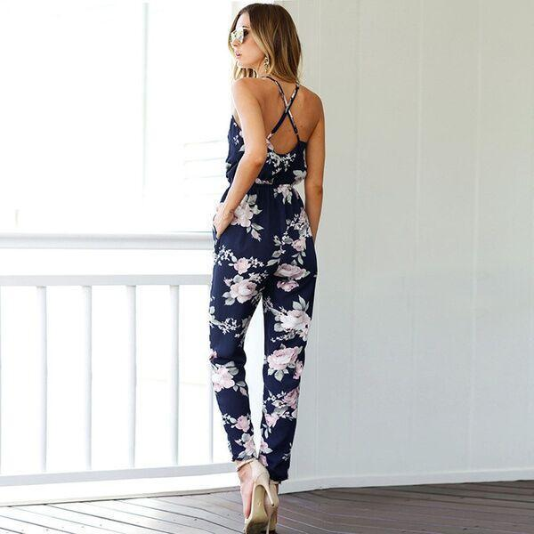 Floral V-Neck Full Length Romper