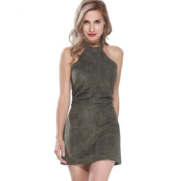 Lourde - Suede Halter Neck Dress