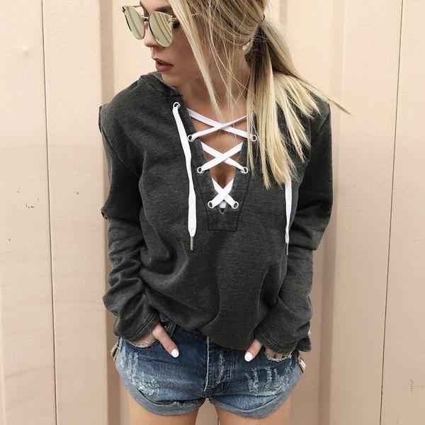 Bria - Lace Up Hoodie Pullover