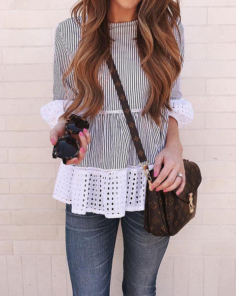Pixie - Pleated Striped Blouse