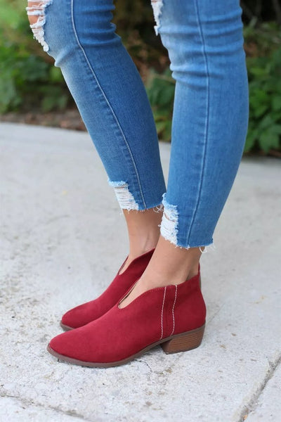 Deep V Zip Ankle Boot