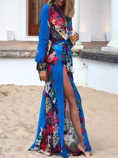 Long Sleeve Deep V-Neck Floral Split Maxi Dress
