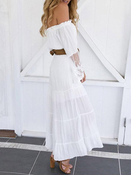 Lace Detail Long Sleeve Boho Maxi Dress