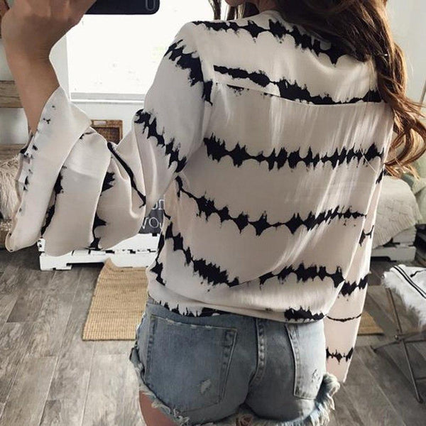 Long Flare Sleeve Tie Die Wrap Blouse