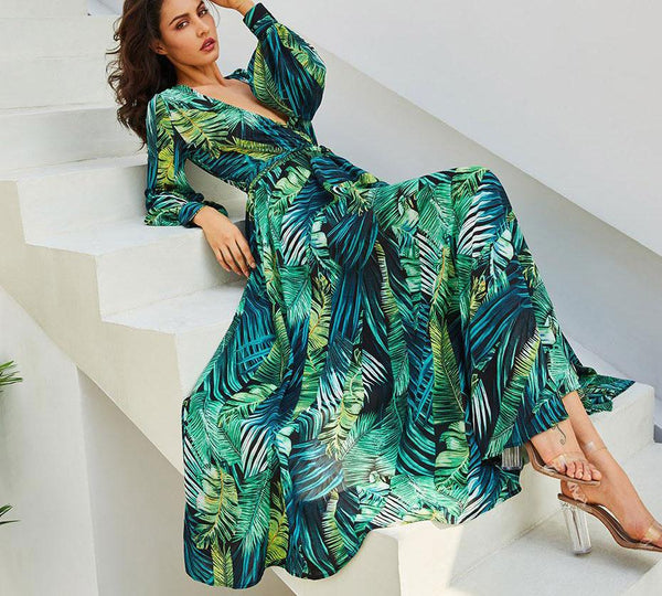 Celeste - Deep V-Neck Tropical Boho Maxi Dress