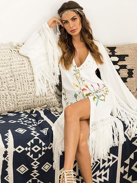 Deep V-Neck Tassel Detail Embroidered Boho Dress