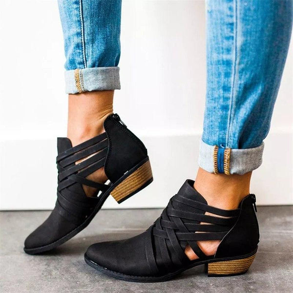 Hollow Out Square Heel Ankle Boots