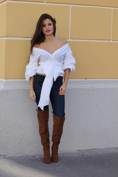 Raider - Off the Shoulder Bow Tie Wrap Blouse