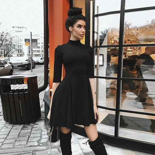 High Neck Half Sleeve Dress