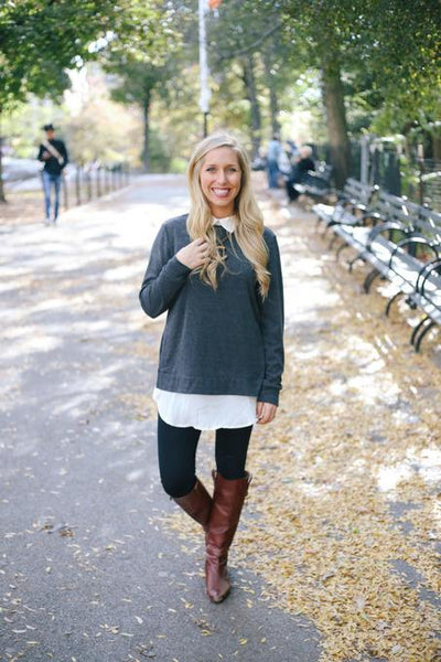 Casual 2 in 1 Color Block Pullover