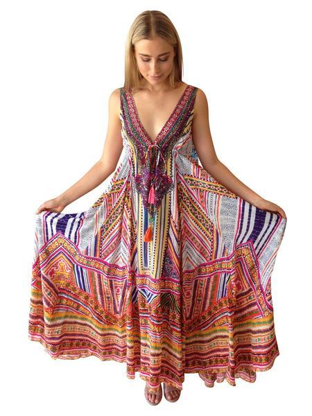 Deep V-Neck Backless Boho Maxi Dress