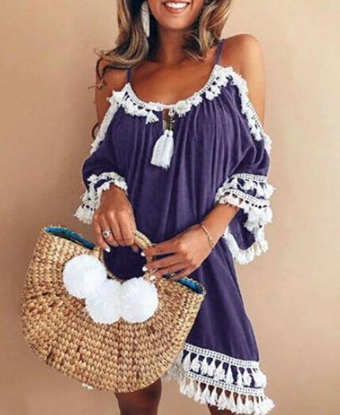 Esme - Cold Shoulder Tassel Detail Boho Dress