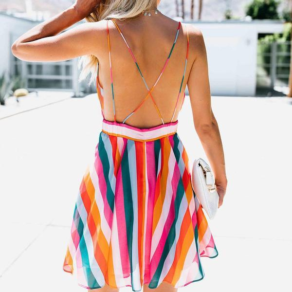 Bright Rainbow Vintage Striped Summer Dress