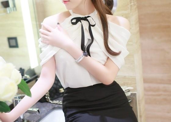 Gift - Bow-Knot Ruffle Blouse